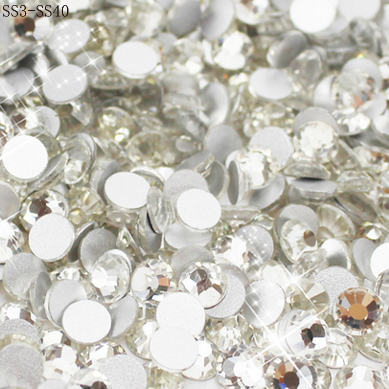 Wholesale SS3-SS40 Clear Crystal White 3D Nail Art Decoration rhinestones  Silver Flatback Rhinestones Glitter Gems. 204d829e6001