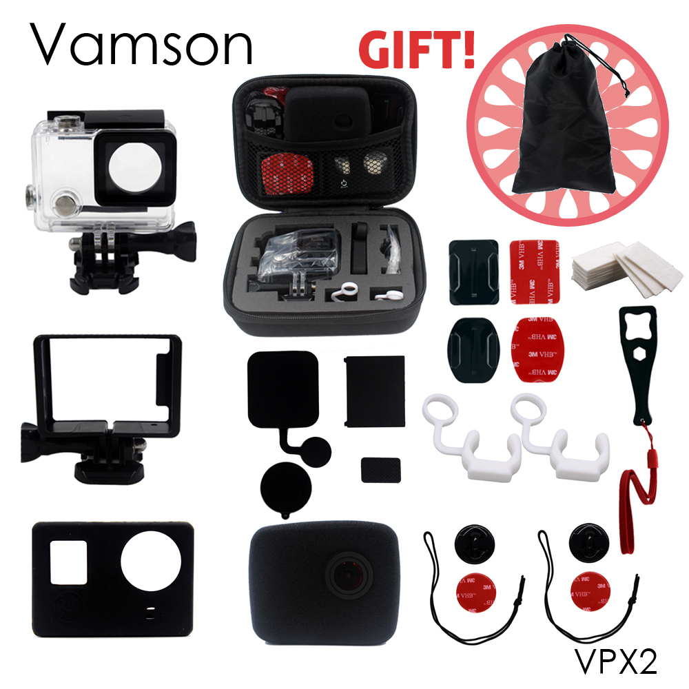 Vamson for Go pro Accessories Super protection Set Small Bag Waterproof Case Protective Frame For Gopro Hero 4 3+ VPX2 45m waterproof case mount protective housing cover for gopro hero 5 black edition