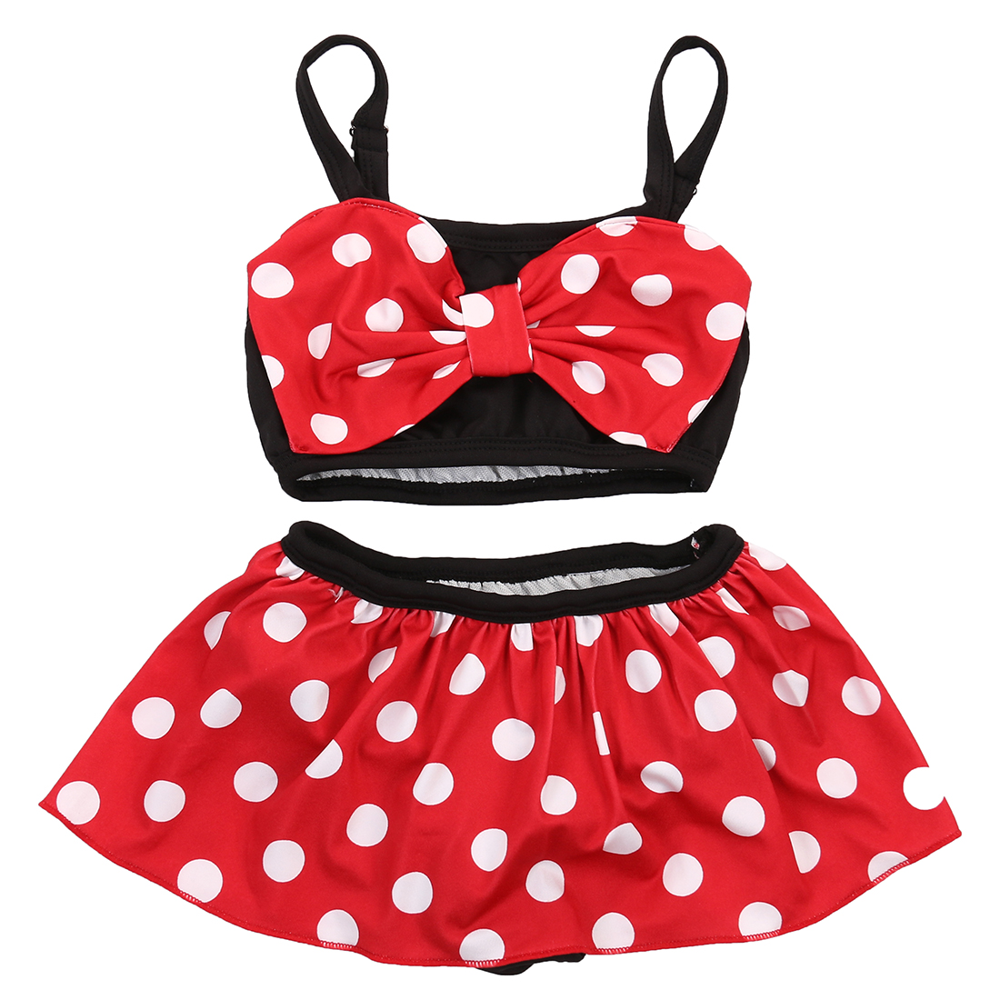 0-5Y Baby Girls Ploka Dot Lovely Cute Pretty Bikini Dress Suit Minnie Bottoms Swimsuit Swimwear Bathing Suit