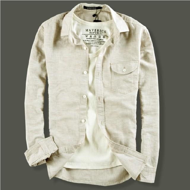 2016 As Novas Lazer dos homens camisa de linho cânhamo de algodão Fino Respirável camisa De Linho de manga Comprida Plus Size 3XL