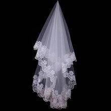 Горячая свадебные аксессуары короткие свадебная фата Белый Кот один Слои Фата аппликации с кружевной каймой