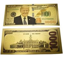 Президент Дональд Трамп 1000 USD долларовые банкноты из золотой фольги банкноты Забавный подарок