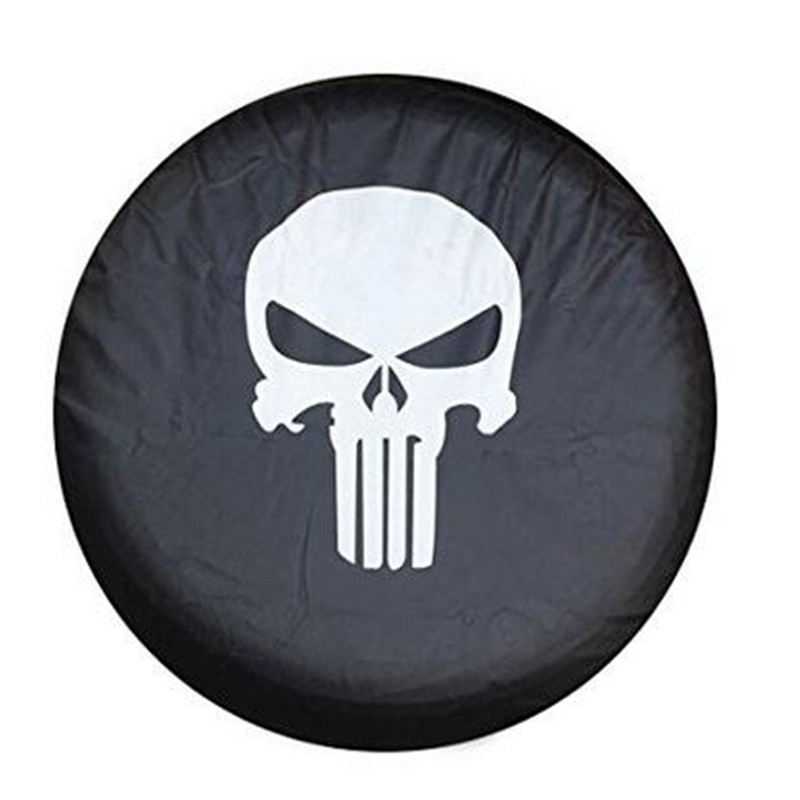 1Pcs Car Tire Cover 14inch  15inch 16inch 17   inch  Skull logo PVC PU Spare Tyre Wheel Valve Covers For Cars Accessories