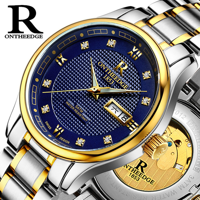 ffadd1c9272 Luxury Men s Watch Brand Mechanical Wristwatches 1853 Date Day 3 ATM Waterproof  Watches Full Stainless Steel Luminous Feminino