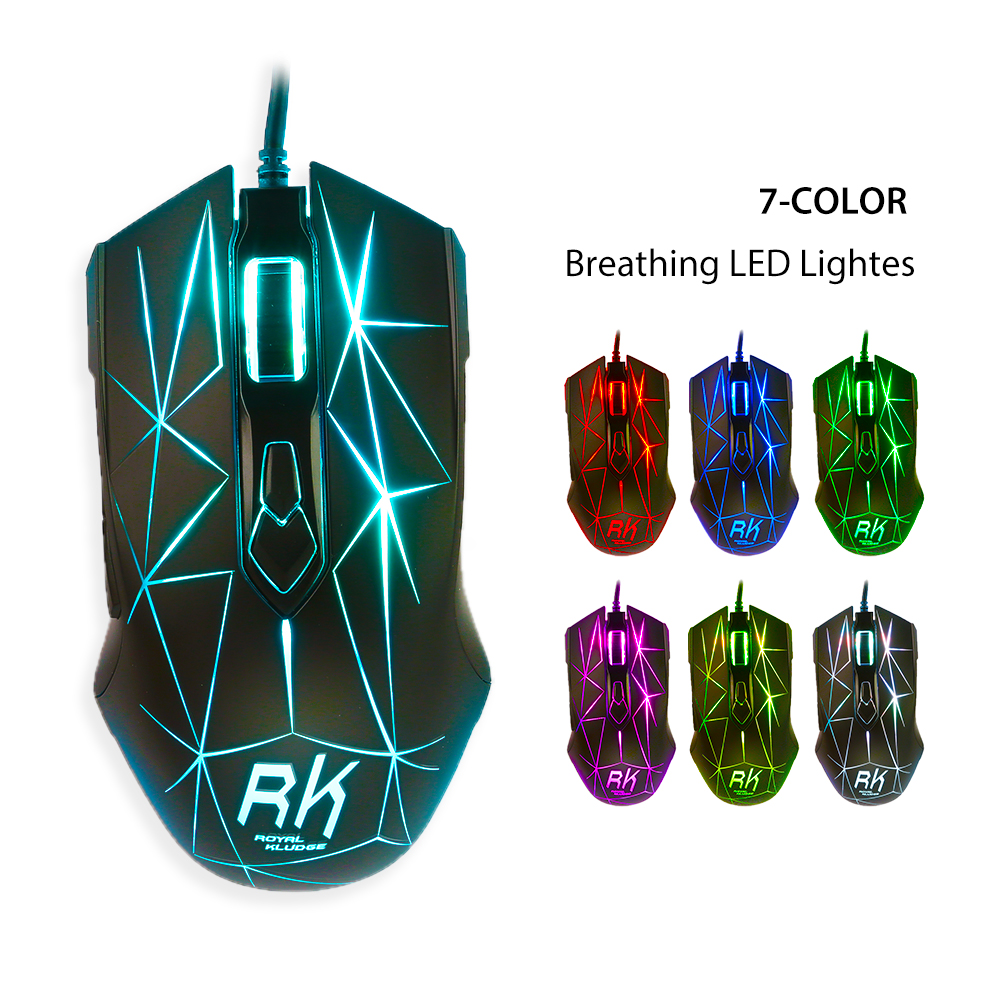 RK RM-300 USB Wired Gaming Mouse Mice 3500 DPI With 7 Colors LED Lights 7 Button for Laptop Windows PC Computer Gamer Mac OS