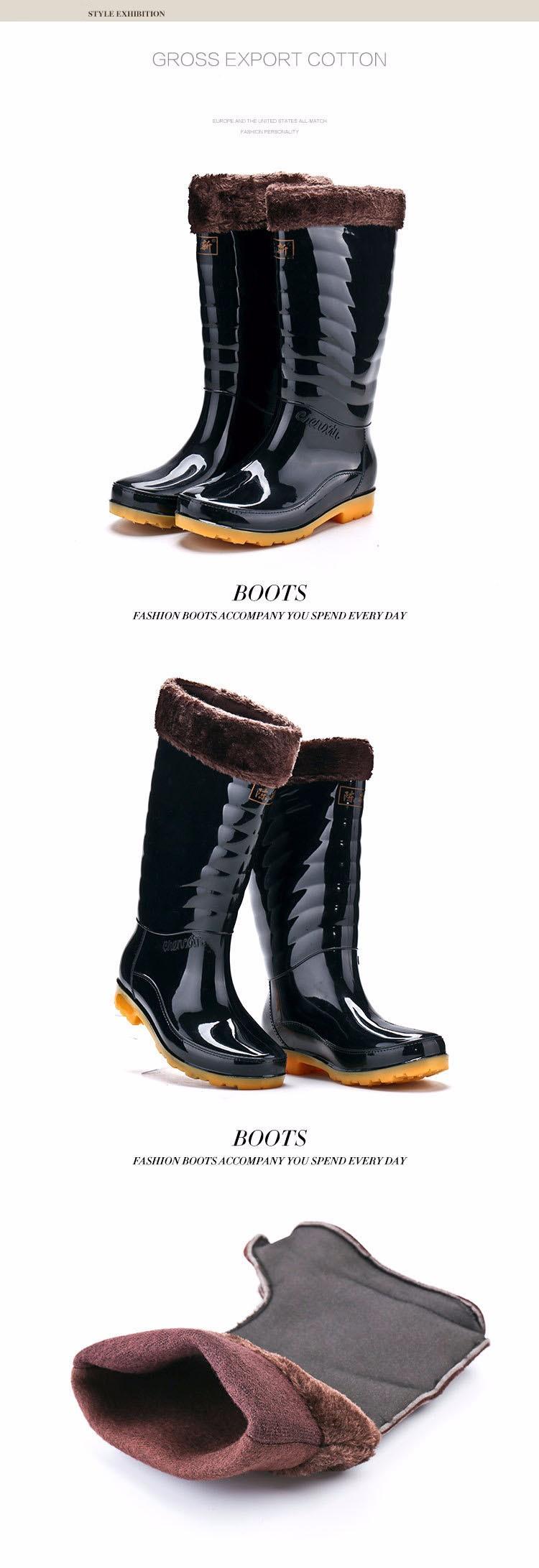 Hellozebra Men Fashion Rain Boots All Seasons Black Chains Waterproof  Welly Plaid Knee-High Rainboots 2016 New Fashion Design (7)