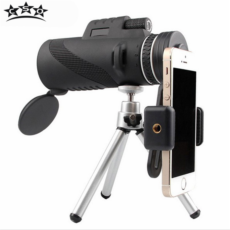 CSO 40X60 Monocular All Optical HD No Infrared Teleskop Monoculo with Lens Caps Tripod Universal Camera