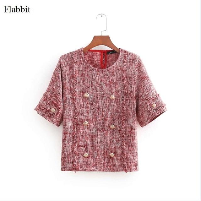 348306ff5ec030 Flabbit women vintage o neck short sleeve buttons decoration tweed blouse  ladies casual vestidos shirt chic blusas tops LX0315