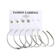 Lusion Jewelry Round Crystal Punk Earrings Set 6pair set Fashion Bijoux Luxury Statement Cheap Earring For