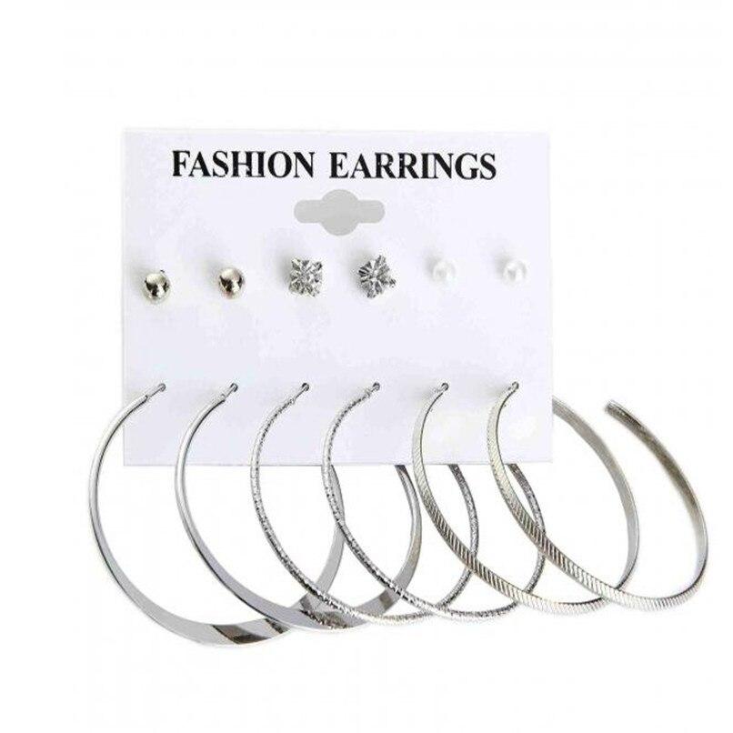 Lusion font b Jewelry b font Round font b Crystal b font Punk Earrings Set 6pair