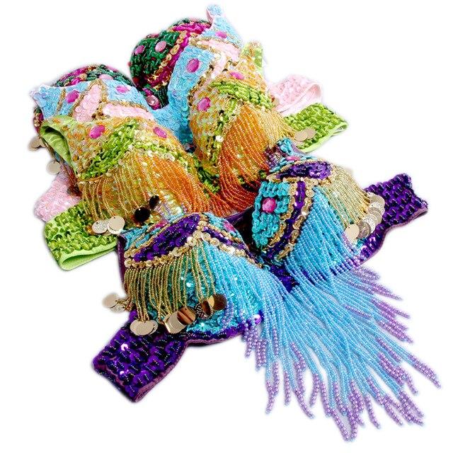 2018 Danse du ventre Costume Ensemble 2 pièces Soutien-Gorge et Ceinture 32b/c 34b/c 2 Couleurs