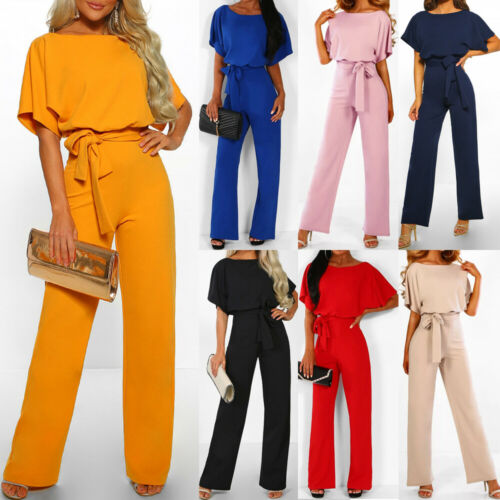Hot Sale New Fashion Women Solid-color High-waist O-neck Lace-up Half-sleeve Wide Leg   Jumpsuits   Office Lady Summer Clothes S-3XL