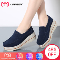 PINSEN 2017 Autumn Women Flats Shoes Thick Soled Platform Shoes Leather Suede Casual Shoes Slip On Flats Creepers Moccasins
