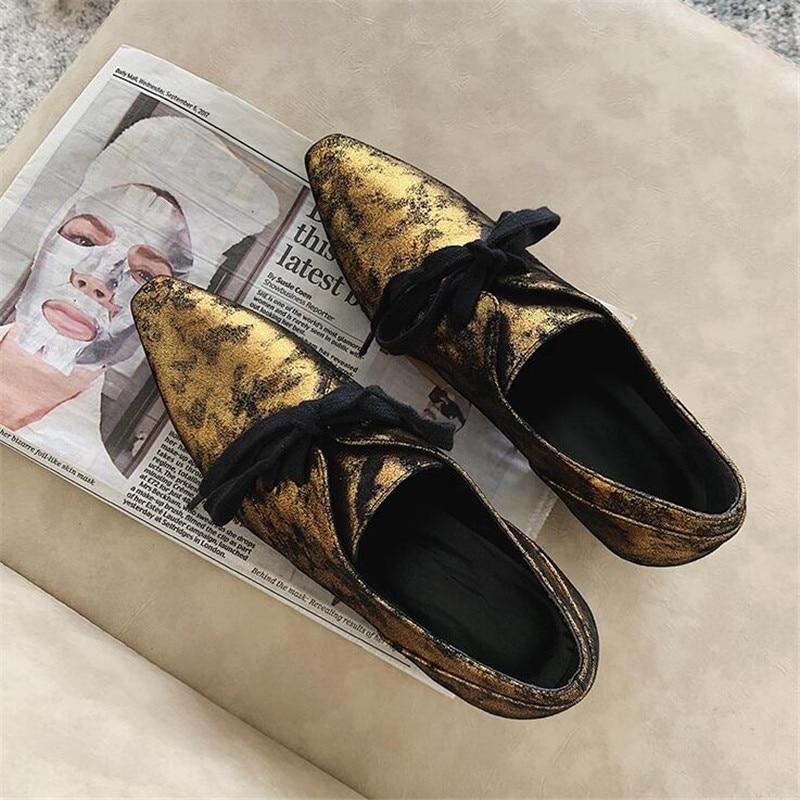Plat Cuir bronze Talons Sexy Bout Chaussures Profonde Ballets Noir Argent gold Outwear Silver Peu Femmes Femme En Loisirs Véritable black Lacent Pointu Bas 6BItqS