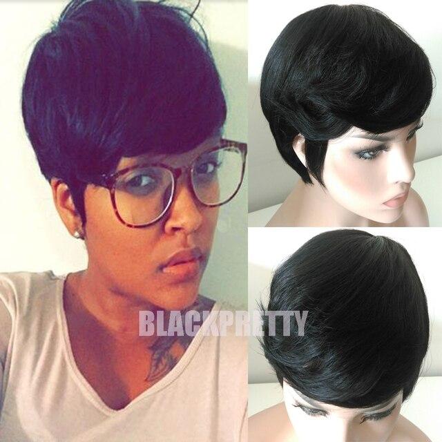 Cheap Women s Black Full Hair Lace Wig Short Cut Glueless Wig Short Pixie  Cut Bob Human Brazilian Hair Wig For African Americans 562092a908