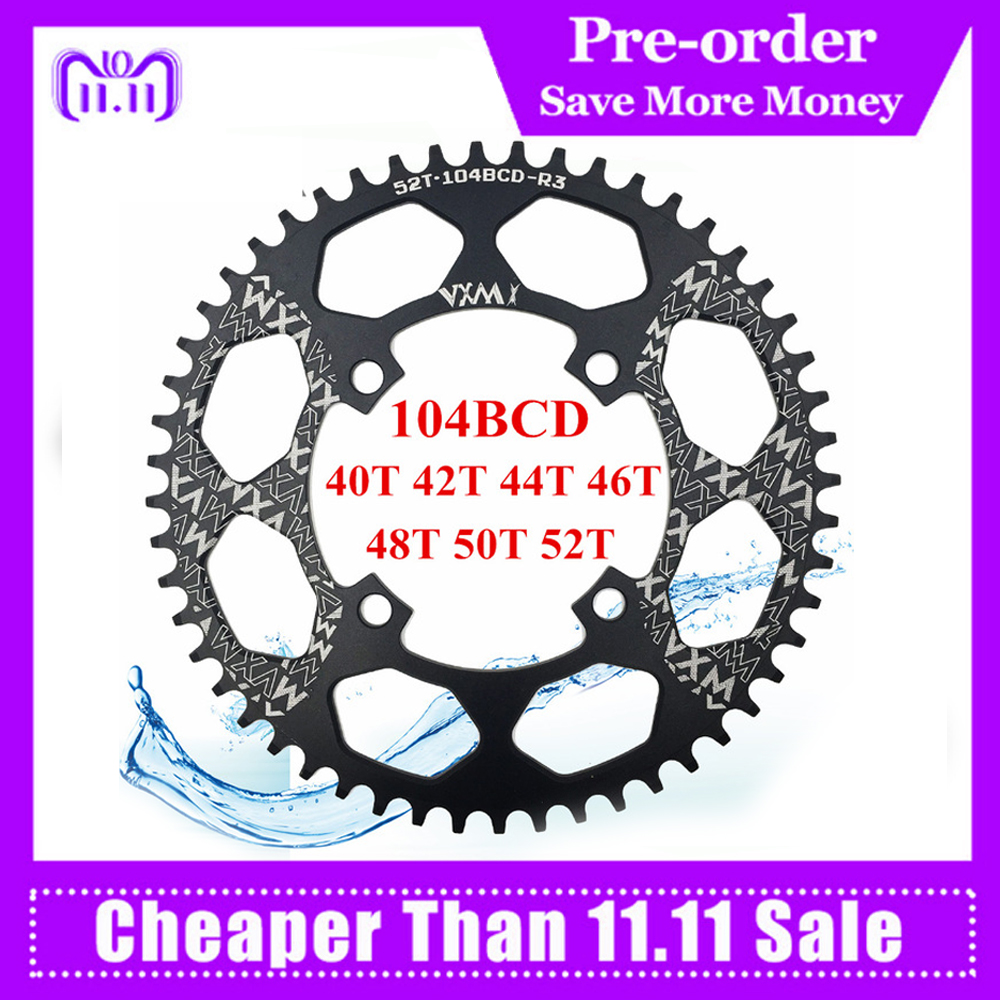 VXM Bicycle Crank 104BCD 40/42/44/46/48/50/52T Mountain Bicycle Chainwheel MTB bike crankset Aluminum Chainring Bicycle Parts