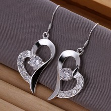 stylish new design hearts with stones crystal earrings , Silver Plated Earrings Inlaid Heart Earrings E169