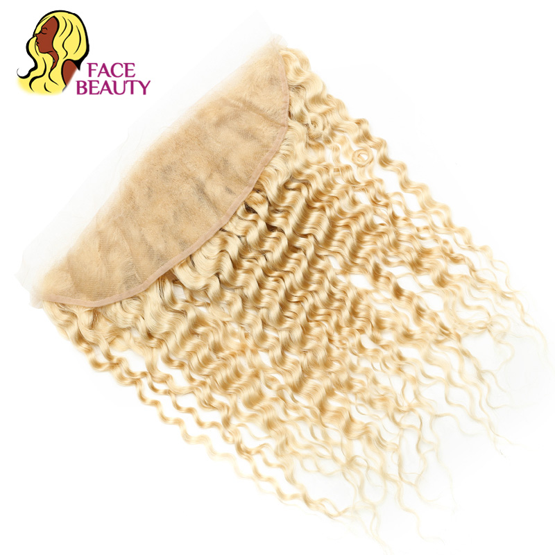 Facebeauty 13x4 Transparent Preplucked Lace Frontal Full Remy Human Hair Platinum 613 Blonde Curly Lace Frontal Peruvian Closure