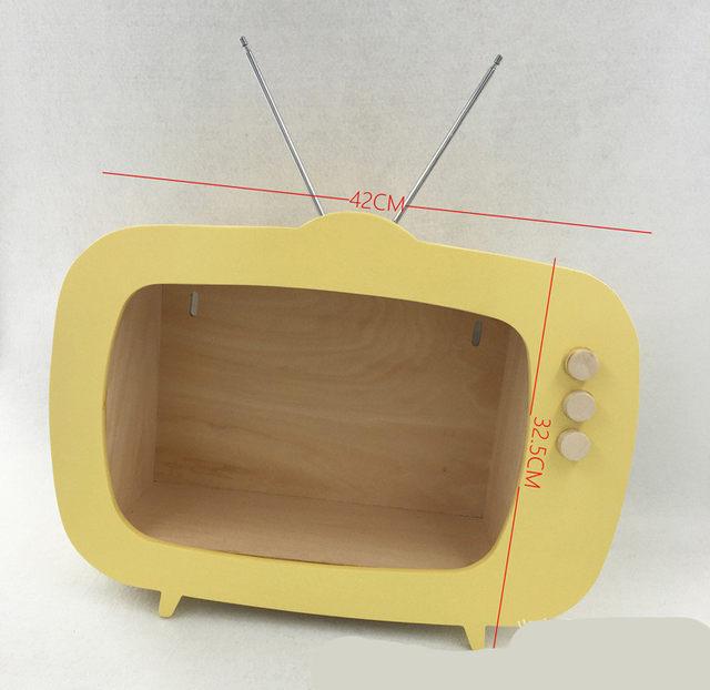 Online Shop Children\'s Room TV Shape Wooden Shelf Holder Decoration ...