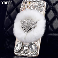 YRFF Lovely Cartoon Fox Shining Rhinestone Case For Iphone 6 6s Plush Phone Cover Case For