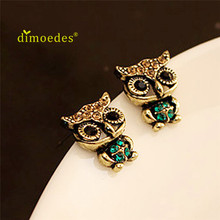 Фотография Best-seller free shipping Diomeds1 Pair Fashion Style Owl Rhinestone Cute Vintage Ear Stud Earrings 2017 Oct19