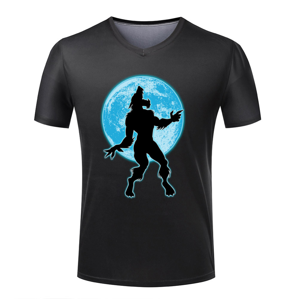 Werewolf and moon t shirts men v neck personalized 3d logo for Logo printed t shirts