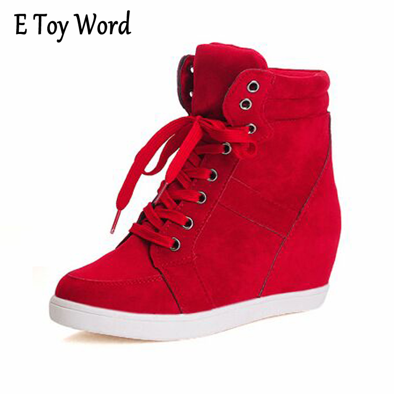 E TOY WORD Fashion Ankle Boots Women Spring Autumn Shoes Women Lace-Up Solid Boots Female Height Increasing Platform Botas Mujer e toy word fashion ankle boots women spring autumn shoes women lace up solid boots female height increasing platform botas mujer