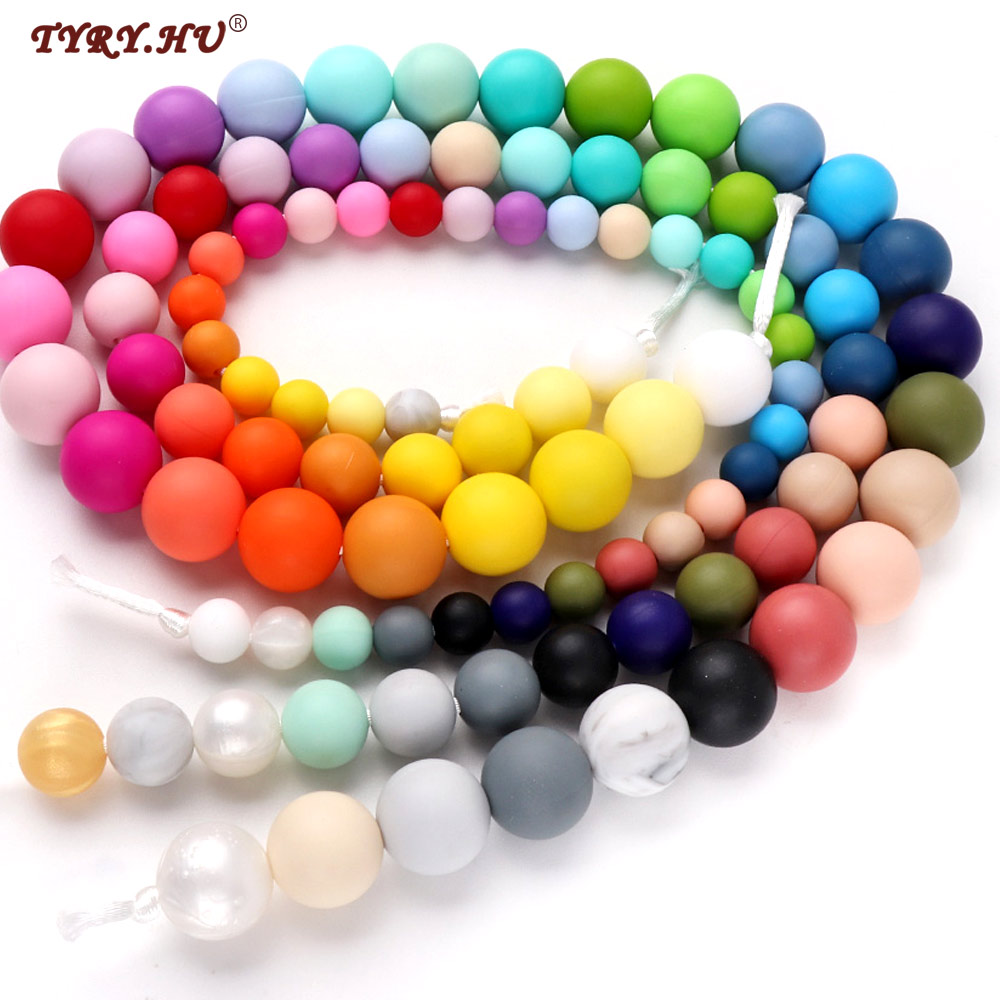 50pc 15mm Silicone Beads Loose Teething Chew Jewelry Teething Necklace Teether Toy DIY Supplies Relieve Baby Tooth Pain