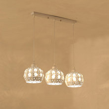 Modern Crystal Pendant Light Fixtures Dining Room Kitchen Loft Rope Hanging Lamp E27 Decor Home Lighting White Metal 110-220V цена