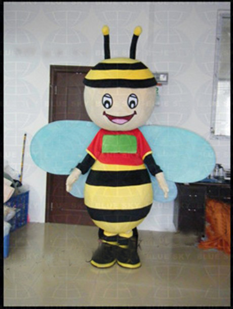 Factory Wholesale Blue Wing Honey Bee Mascot Costume Adult Cartoon Character Honeybee Mascotte Cosplay Carnival Costume SW333
