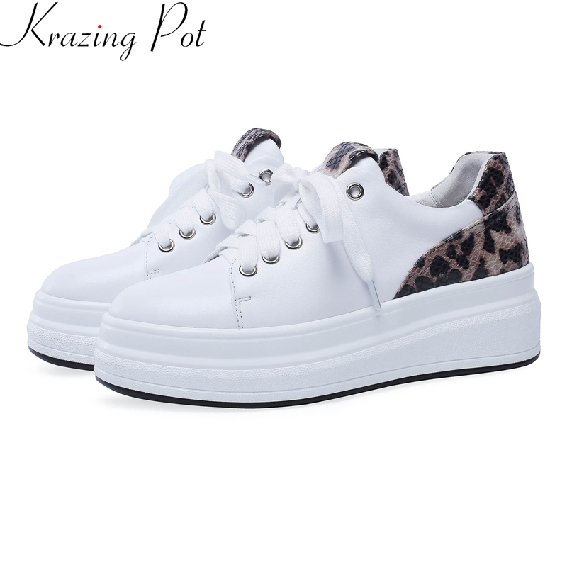 Krazing Pot 2019 cow leather flat platform lace up round toe casual spring shoes increasing Leopard women vulcanized shoes L11Krazing Pot 2019 cow leather flat platform lace up round toe casual spring shoes increasing Leopard women vulcanized shoes L11