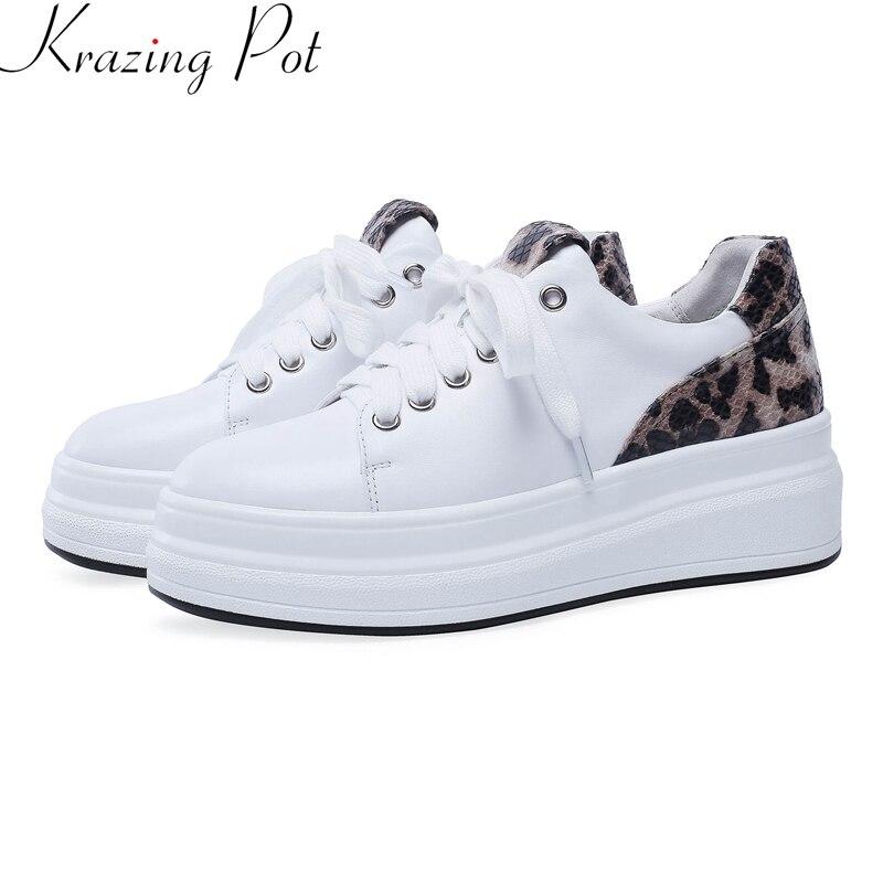 Krazing olla 2019 cuero de vaca plataforma plana de encaje redondo dedo del pie casual zapatos de primavera zapatos creciente de leopardo de las mujeres zapatos vulcanizados zapatos L11-in Zapatos vulcanizados de mujer from zapatos    1