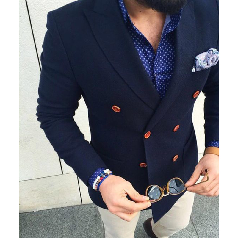 New 2 Piece Navy Blue Double Breasted Blazer With Beige Pants Casual Men Suit Gentle-Mens Terno Masculino Can Be Custom Made!!!