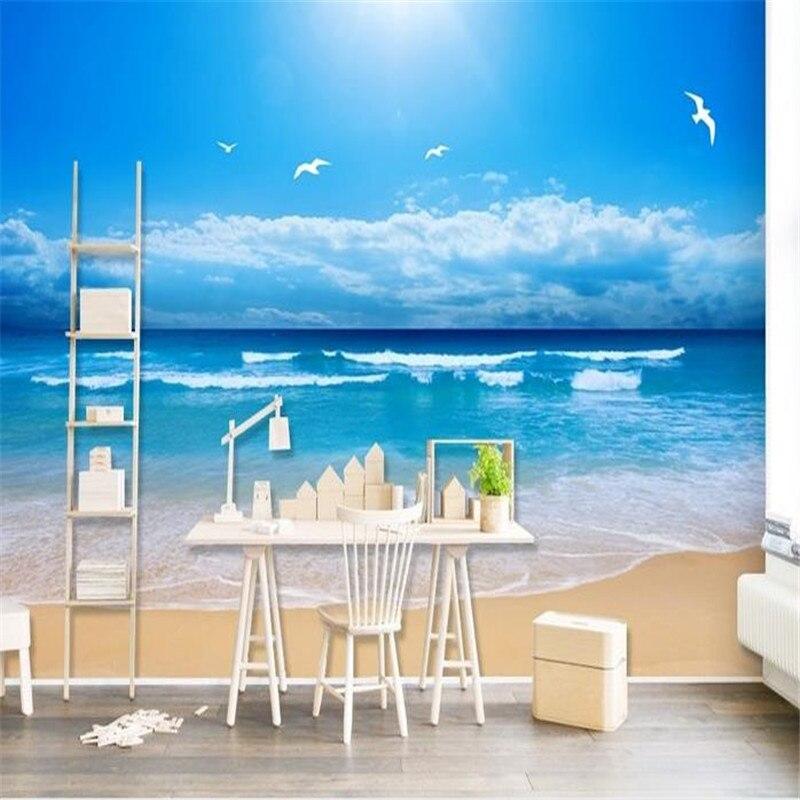 HD Custom Foto Mural Biru Laut Gelombang Wallpaper Pemandangan Alam pemandangan 3D Dinding Kertas untuk Ruang