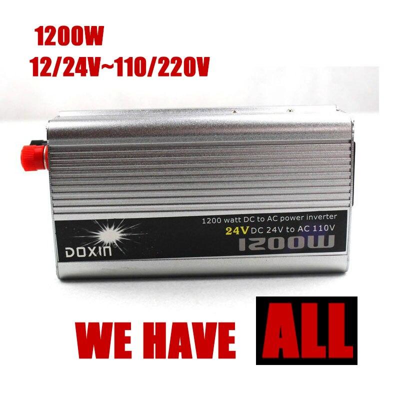 1200W WATT DC 12 24 V to AC 110 220V Portable Car Power Inverter Adapter Charger Converter Transformer