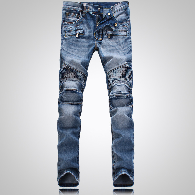 Men jeans Straight Biker Jeans high quality Cotton Denim Man skinny Bule Slim male Trousers