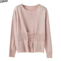 4 Colors Lace Up Lattice Detail Knitted Jumper Women Long Sleeve O Neck Simple Sweater Casual