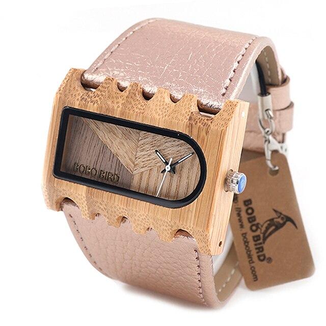 BOBO BIRD Fishbone นาฬิกากรณีกว้างสายนาฬิกาสุภาพสตรีคริสต์มาสของขวัญ Drop Shipping CUSTOM โลโก้ของคุณ