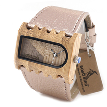 BOBO BIRD Fishbone Watches Case Wide Strap Wooden Watches La