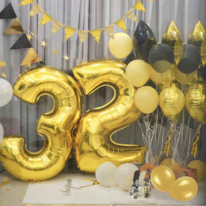 40inch Rose Gold Silver Number Foil Balloons Large Helium Globos Birthday Party Wedding DIY Decorations Digit Figure ballon