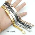Stainless Steel ID Gold Plated Bracelet For Men Jewelry Gift Punk Rock masculina pulseira, Black / Rose Gold / Silver LB422