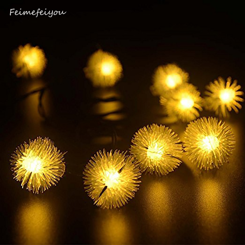 Outdoor Solar Powered 20LED String Lights Fairy Dandelion Ball су - Мерекелік жарықтандыру - фото 2