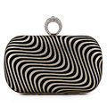 Personality Zebra Printed Clutch Bag Finger Ring Handbag Mini Chain Shoulder Bag Women Party Wedding Evening Bag Purse Wallet