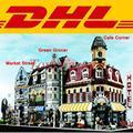 DHL LEPIN Creadores de Edificios Modulares 15008 Verdulería 15007 Market Street 15002 Cafe Corner Blocks Set Kits de Ladrillos