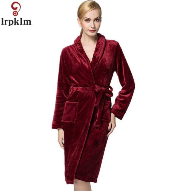 81b7479738 Online Shop Thick Warm Flannel Sleep Robes Women Winter Warm Bathrobe  Nightgown Home Furnishing Long Sleeved Elegant Robes SY292
