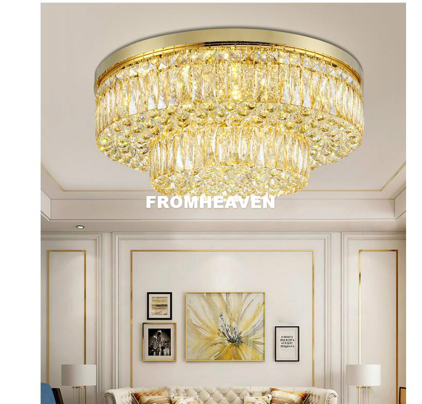0caf378d5e3 2019 Modern Luxury Crystal Ceiling Lamp Living Room D60cm D80cm ...