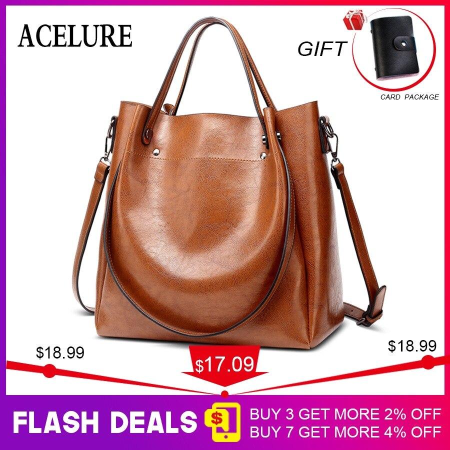 be404e525a65 ACELURE Casual Large Capacity Women Tote Shoulder Bag PU Leather Ladies  Bucket Handbag Messenger Bag Soft