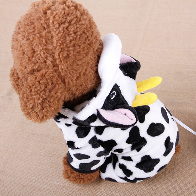 Cow Style Pet Dog Costume Warm Flannel Hoodies Outfit For Dog Winter Dog Clothes Puppy Jacket Clothes for Small Dog ropa perro 2