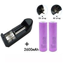 2Pcs 18650 3.7V 2600mAh Battery batteries lithium Li Ion Rechargeable Flashlight+18650 16340 14500 AA AAA universal charger цена 2017