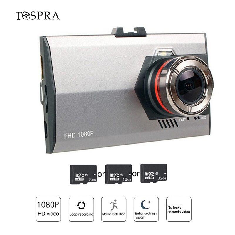 TOSPRA Recorder Camera Dash-Cam Video Rear-Mirror-View Wide-Angle 1080P Full-Hd 1pcs